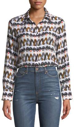 Alice + Olivia X Donald Robertson Willa Crazy Pants Printed Silk Button-Down Top