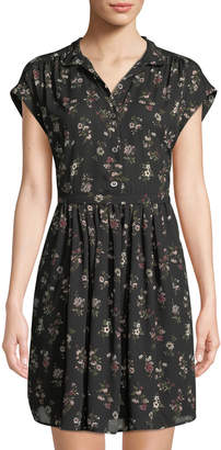 Bobeau Mare Floral-Print Mini Shirtdress