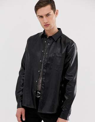 Asos Design DESIGN regular fit leather look shirt in black