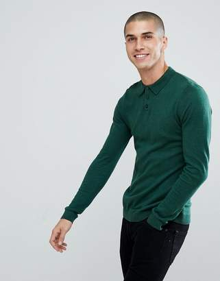 Asos DESIGN Knitted Muscle Fit Polo In Bottle Green
