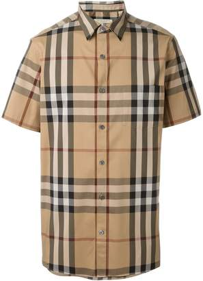 Burberry Men's Nelson Camel Large Check Shirt M