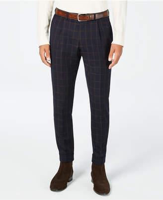 Tallia Men Slim-Fit Navy/Brown Windowpane Cropped Wool Suit Pants