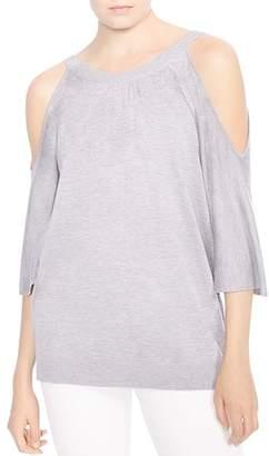 Halston Cold-Shoulder Back-Button Sweater