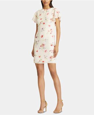American Living Floral-Print Flutter-Sleeve Crepe Dress