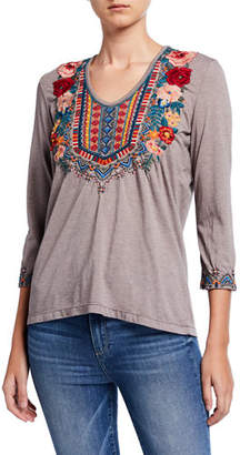 Johnny Was Tia Embroidered 3/4-Sleeve Deep Scoop-Neck T-Shirt