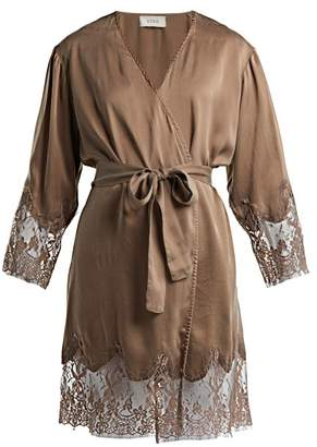 Icons Art Lily Silk Robe - Womens - Brown