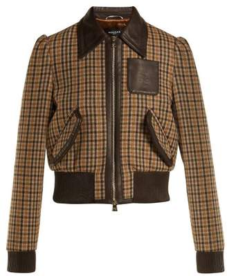 Rochas - Checked Wool Blend Bomber Jacket - Womens - Brown Multi