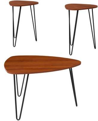 Charlestown Collection Flash Furniture 3 Piece Coffee and End Table Set in Cherry Wood Grain Finish and Black Metal Legs