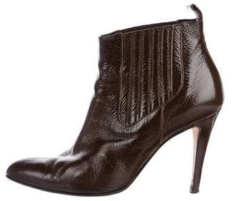 Brian Atwood Patent Leather Ankle Boots