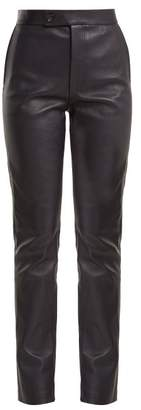 Helmut Lang Leather Suit Trousers - Womens - Navy