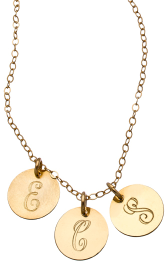 Miriam Merenfeld Jewelry Gold Three Disc Personalized Script Initial Pendant Necklace