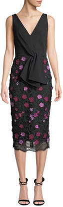 Lela Rose V-Neck Sleeveless Tie-Front Dress w/ Floral Lace Skirt