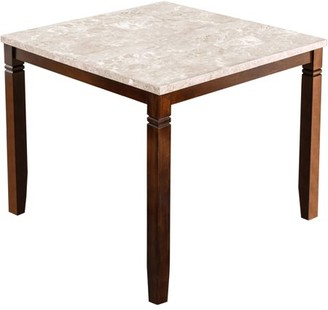 Furniture of America Donna Marble Counter Height Dining Table, Brown Cherry