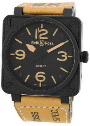"Bell & Ross BR01-92 Heritage"" Black Carbon Finish Stainless Steel Mens Strap Watch"