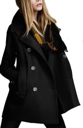 D-Sun Women's Stylish Loose Style Notched Lapel Double Breasted Trench Wool Coat (, S)