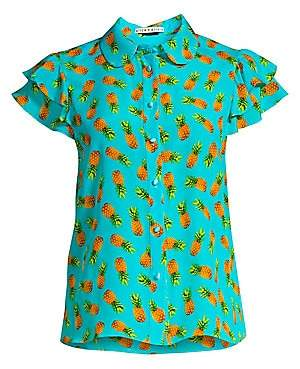 Alice + Olivia Women's Ziggy Pineapple Print Ruffled Cap Sleeve Blouse