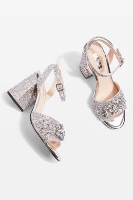 Topshop Razzle Glitter Block Heel Sandals
