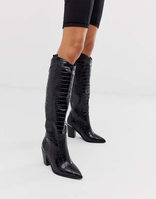 Asos Design DESIGN Catch Up western pull on knee boots in black croc
