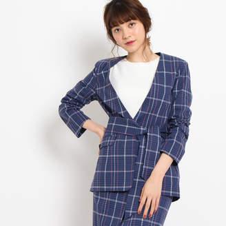 aquagirl (アクアガール) - エージー バイ アクアガール AG by aquagirl 【洗える】綿麻チェックジャケット (ブルー)