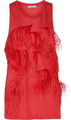 Nina Ricci Feather-Embellished Stretch-Jersey Top