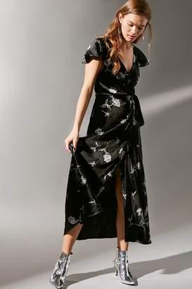 Urban Outfitters La Fuente Velvet Maxi Wrap Dress