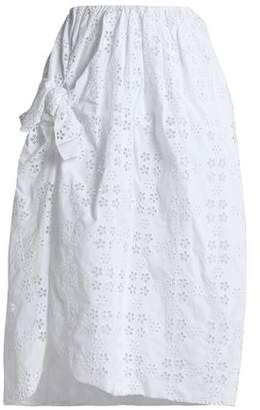 Simone Rocha Wrap-Effect Knotted Broderie Anglaise Cotton-Blend Midi Skirt