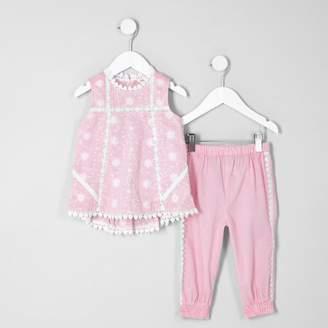 River Island Mini girls Pink swing shell top set