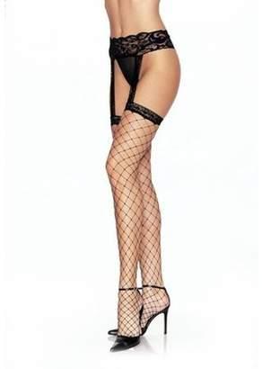 Leg Avenue Women's Lycra Fence Net Stockings with Attached Garter Belt, Black, One Size