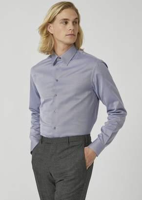 Emporio Armani Modern Fit Shirt In Herringbone Chevron Pattern Pure Cotton