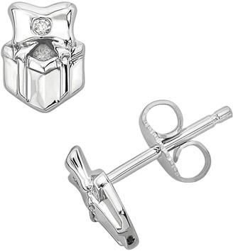 Little Diva Diamonds Sterling Silver Diamond Accent Gift Box Stud Earrings