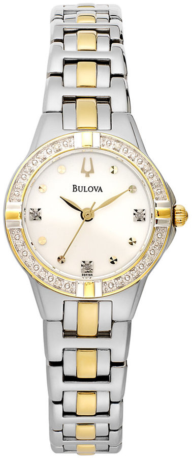 BulovaBulova Women's Diamond Accent Two-Tone Stainless Steel Bracelet Watch 28mm 98R166