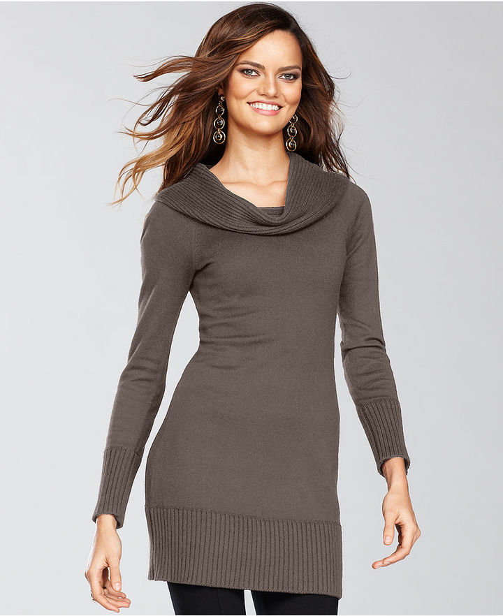 INC International Concepts Sweater, Long-Sleeve Cowl-Neck Tunic