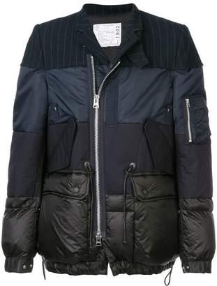 Sacai print mix padded jacket