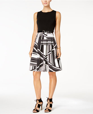 Tommy Hilfiger Belted Printed Fit & Flare Dress $149 thestylecure.com