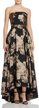 Avery G Floral Strapless Gown