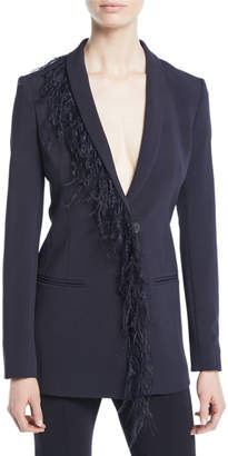 Cushnie Deep-V Long-Sleeve Single-Breasted Cady Blazer with Feather Trim