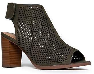 City Classified Women's Roadway Faux Leather Peep Toe Laser Cut Out Slingback Stacked Heels