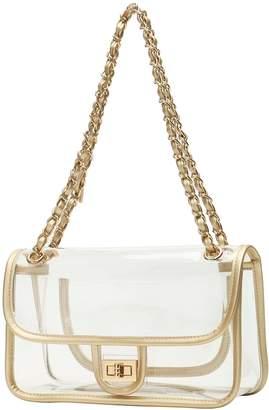 clear LA GALLERY Woens Purse Turn Lock Handbags Chain Shoulder Bags NFL Approved Bags