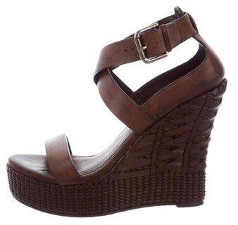 Ralph Lauren Collection Leather Platform Wedge Sandals