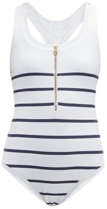 Heidi Klein Striped Zip Front Swimsuit - Womens - Blue Multi