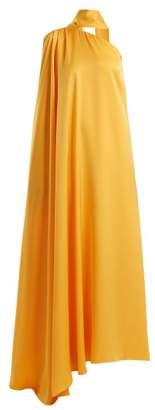 Osman Lula one-shoulder satin-back crepe gown