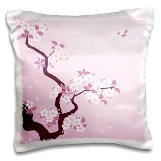 3dRose Cherry Blossom Tree on Pink Background - Pillow Case, 16 by 16-inch