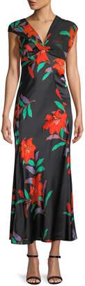 Diane von Furstenberg Floral Silk Asymmetric-Sleeve Knotted Dress