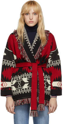 Alanui Red and Black Jacquard Icon Belted Cardigan