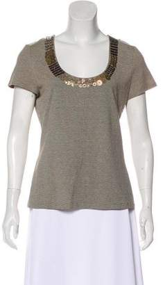 Lafayette 148 Embellished Scoop Neck Top