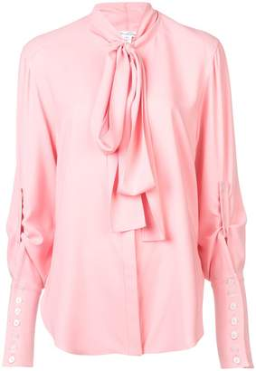 Oscar de la Renta french cuff tie neck blouse