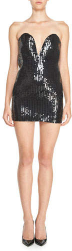 Saint LaurentSaint Laurent Strapless Plunging Sweetheart Sequined Mini Dress, Black