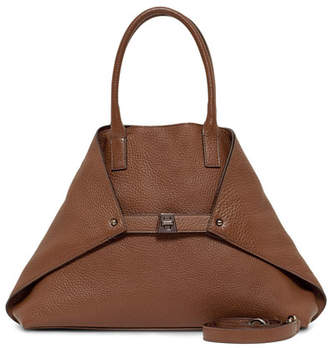 Akris Ai Pebbled Leather Shoulder Tote Bag, Carmel