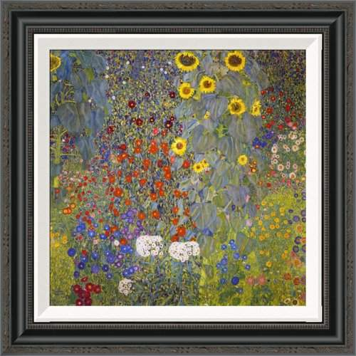 Global Gallery 'Farm Garden With Sunflowers' by Gustav Klimt Framed Painting Print