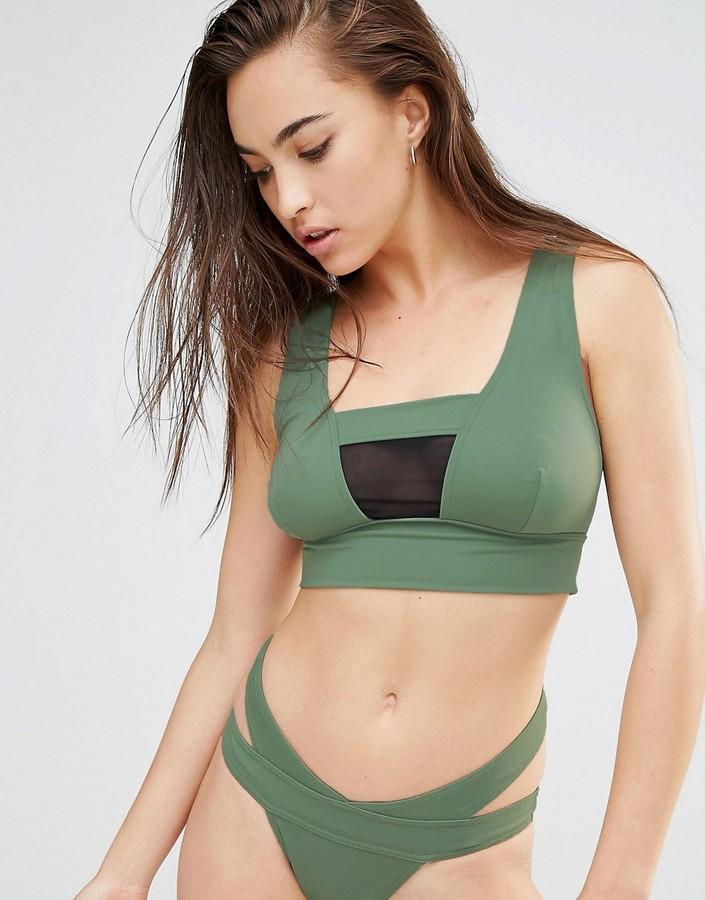 ASOS FULLER BUST Exclusive Mesh Insert Zip Back Crop Bikini Top DD-F